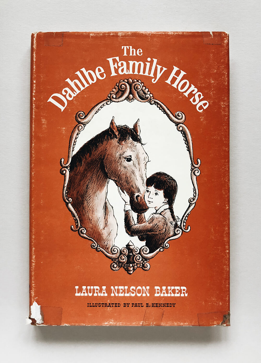 "Cover and illustrations for ""The Dahlbe Family Horse"" by Laura Nelson Baker; Vintage children's book on Dial Press"