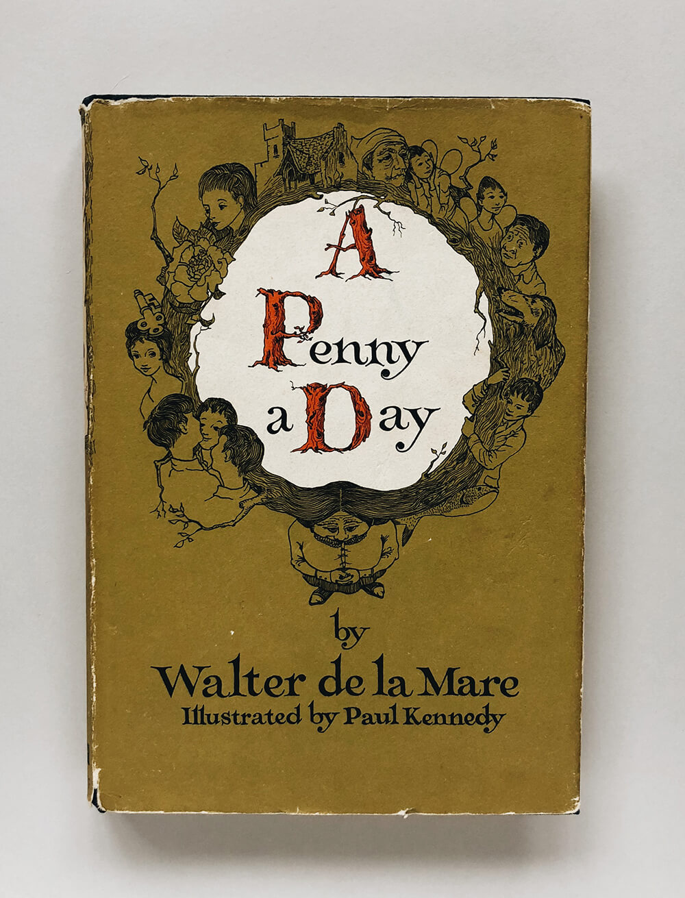 "Cover and illustrations for ""A Penny a Day"" by Walter de la Mare; Vintage children's book on Knopf"