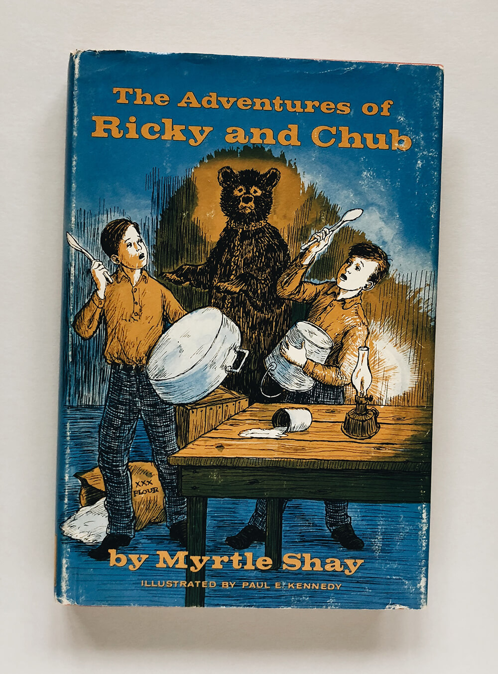 "Cover and illustrations for ""The Adventures of Ricky and Chub"" by Myrtle Shay; Vintage children's book on Dover Books"